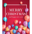 Merry christmas card with flying balloons vector image vector image