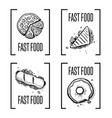 fast food hand drawn doodle set vector image