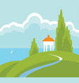 spring landscape with gazebo on the beach vector image