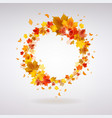 autumn wreath of maple leaves vector image
