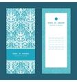 light blue swirls damask vertical frame vector image