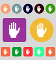 Hand print sign icon Stop symbol 12 colored vector image