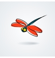 Multicolor dragonfly on white background vector image