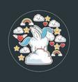 unicorn magic fantasy with kawaii star cloud vector image