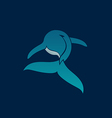 BLUE WHALE away logo sign emblem on dark blue vector image