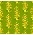 Green yellow primroses pattern vector image