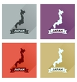 Concept flat icons with long shadow map of Japan vector image