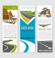 road trip and travel banner template set design vector image