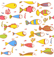 Seamless pattern with fishes and corals Hand drawn vector image vector image