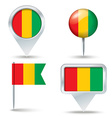 Map pins with flag of Guinea vector image