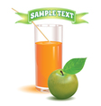 glass for juice from the ripe green apple vector image