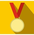 Medal with red ribbon flat icon vector image