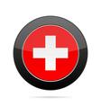 Flag of Switzerland Shiny black round button vector image