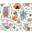 Hand drawn camping seamless pattern with cartoon vector image
