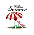 Hello Summer text with beach chair and umbrella vector image