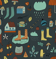 Seamless pattern with autumn elements Dark vector image