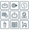 set of 9 airport icons includes money trasnfer vector image