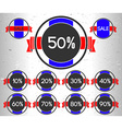 Set of sale labels with percents vector image