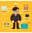 with information on a businessman vector image