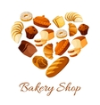Bakery and pastry bread and donut formed as heart vector image vector image