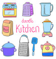 doodle kitchen equipment colorful style vector image