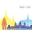phnom penh skyline pop vector image