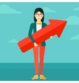 Successful business woman with arrow up vector image