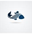 Blue stylized fish isolated on white background vector image