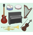 Musical instruments set vector image