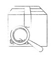 box carton with magnifying glass vector image