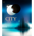 futuristic background with city and eclipse vector image