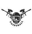 Paintball emblem - mask and two crossed markers vector image