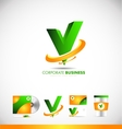Alphabet letter v 3d logo icon design vector image