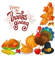 Corner frame with Thanksgiving icons vector image