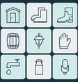 set of 9 agriculture icons includes lantern jug vector image