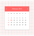 Calendar page for February 2015 vector image vector image