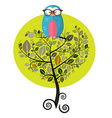 Flat Design Tree with Owl Isolated on White vector image