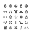 Fitness sports gym black icons set vector image