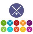 baseball bat and ball set icons vector image