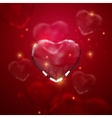 Glass transparent heart with sparkles vector image