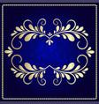 gold pattern frame on a dark blue background vector image