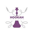 hookah lounge promotional emblem with shisha and vector image