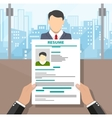 Recruiters hands holding cv and candidate i vector image