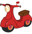 Red motor scooter cartoon vector image
