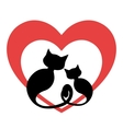 Two black cats in love vector image