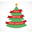 Christmas tree with ribbons and text space vector image vector image