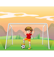 A soccer player in a red shirt vector image vector image