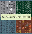 seamless patterns set with colorful elephants for vector image