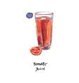 glass of fresh tomato juice tomato in watercolor vector image