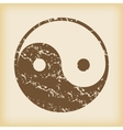 Grungy ying yang icon vector image